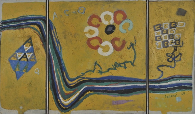 Ladányi Imre: A+B+C, 1964. Vászon, olaj, vegyes technika; 100x200 cm